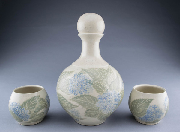 Lori Rollason Pottery Sgraffito Spirit Decanters and Sippers Sets Midrange Stoneware with pale Celadon and Blue Sgraffito