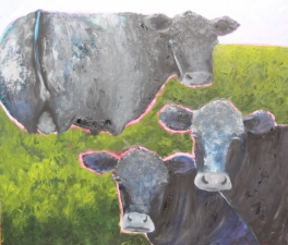 Lori Starkey Cows! Oil on board