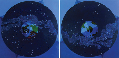 Lori Tremblay Celestial Territories oil on panels