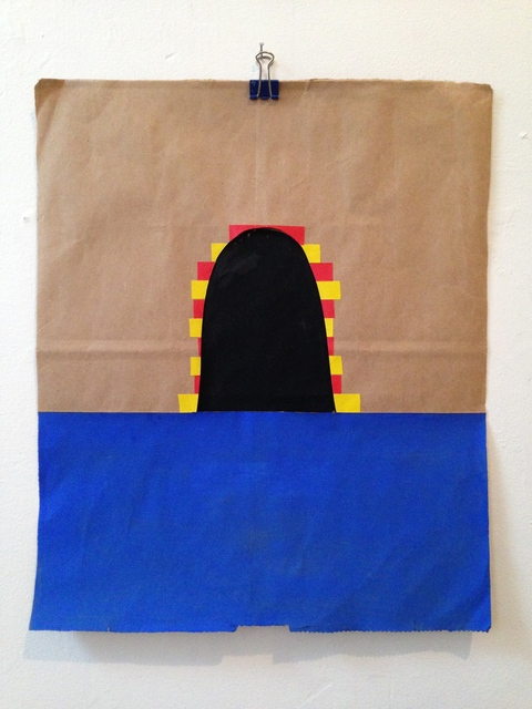 Bag Paintings Gouache, colored tape, paper bag