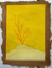 Louis Brawley Land   Guache on Handmade paper