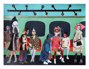 Jane Lubin Subway: If You See Something, Say Something Acrylic/Collage