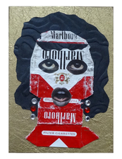 Jane Lubin CigarettePack Collages Acrylic/collage on wood panel