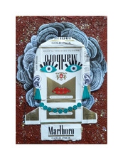 Jane Lubin CigarettePack Collages Acrylic/Collage with pumice, glitter on wood