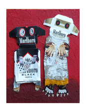 Jane Lubin CigarettePack Collages Acrylic/Collage/Pumice on Wood panel