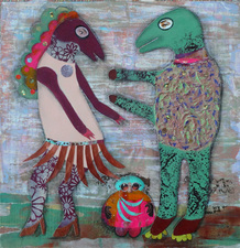 Jane Lubin Larger Collages Acrylic/Collage on wood panel