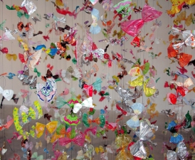 Luisa Caldwell Installations & Sculpture candy wrappers and thread