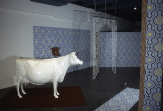 Luisa Caldwell Installations & Sculpture fiberglass cow, silk-screened paper, glass beads, etc