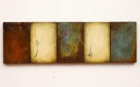 "Luisa Sartori go to ""Itinera"" images Gesso, oil, copper leaf on wood"