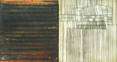 Luisa Sartori Lines & Weather Oil, copper leaf, iron dust, graphite on wood