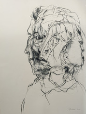 LINDA VERKLER Drawings and Mixed Charcoal on cream Magnani Pescia paper.