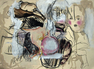 LINDA VERKLER He Said She Said Charcoal, pastel, acrylic, ink on paper