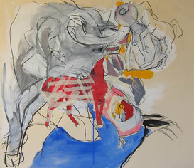 LINDA VERKLER Drawings and Mixed Acrylic, charcoal, collage on paper