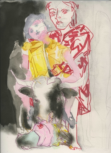 LINDA VERKLER Drawings and Mixed Water color, ink, pencil