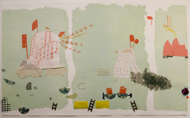 Lydia Diemer Profits and Castaways lithography, collage, monotype, and beeswax