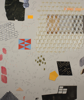 Lydia Diemer Shift and Weigh drawing, lithography, collage, polymer photogravure, and wax