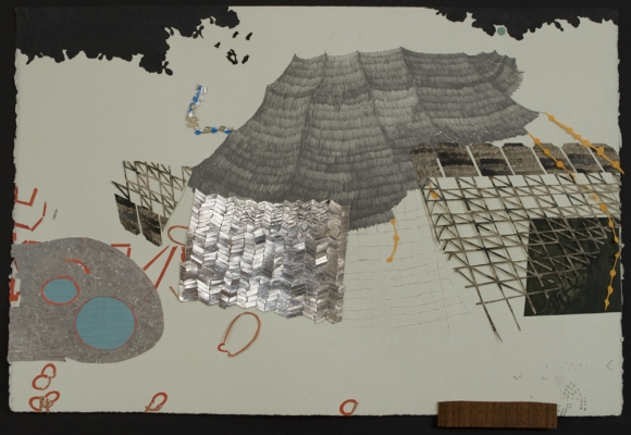 Lydia Diemer Anchor Graphics Residency monoprint: lithography, drawing, collage, and monotype