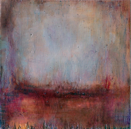 Lynn Johnson Painting - Abstract acrylic and varnish on wood