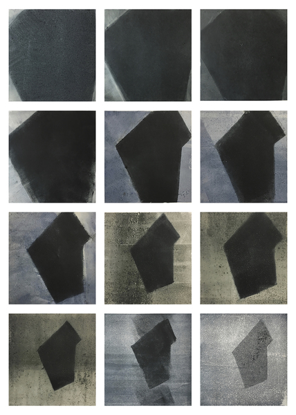 Current Work Geo-abstract monotypes for new animation (dark form)