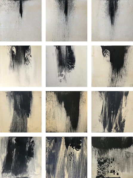 Current Work Geo-abstract monotypes for new animation (black rain)