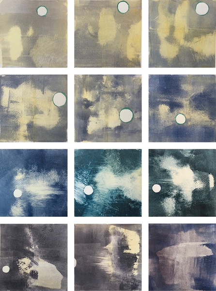 Current Work Geo-abstract monotypes for new animation (moon dot)