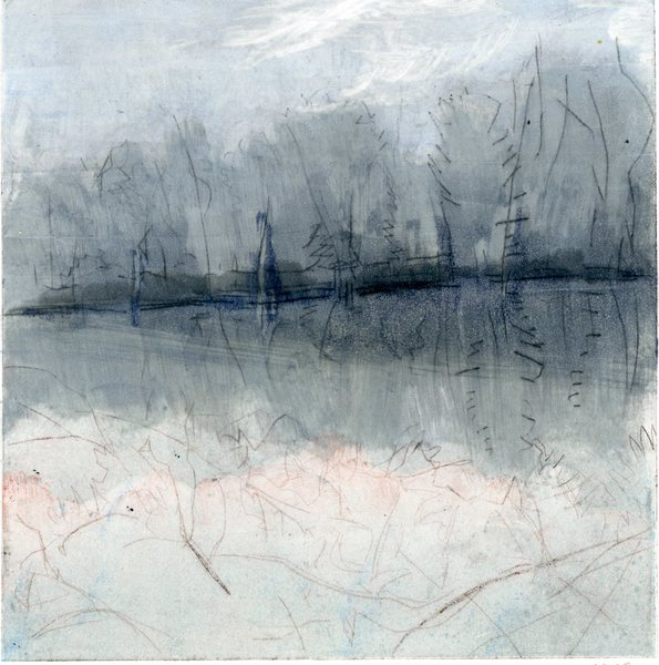 River Walk: Monoprints River Walks (icy pink branches)