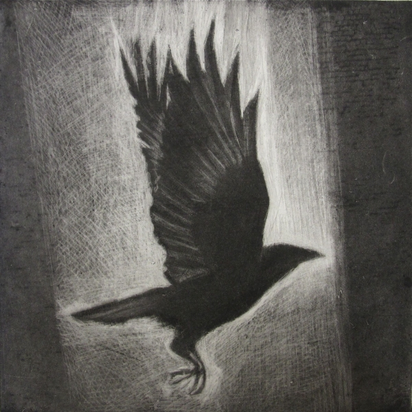 6x6 Intaglio Crows A Murder of Crows no. 16 (vertical)