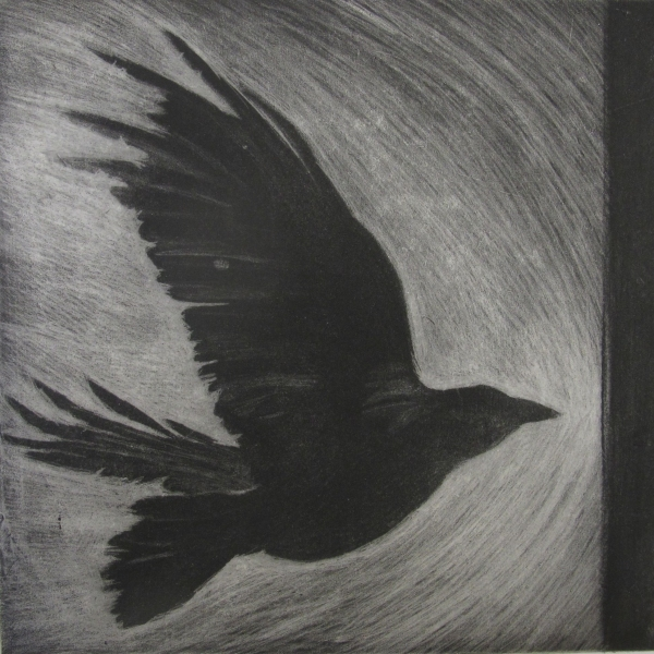 6x6 Intaglio Crows A Murder of Crows no. 15 (seuss)