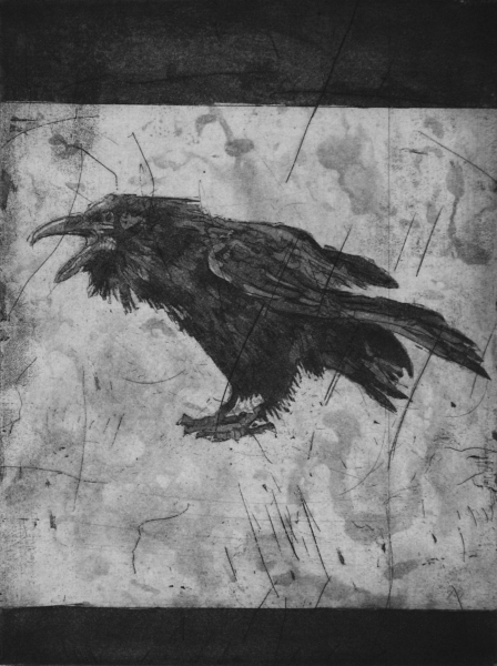 Larger Intaglio Crows A Murder of Crows, no 7 (crazed)