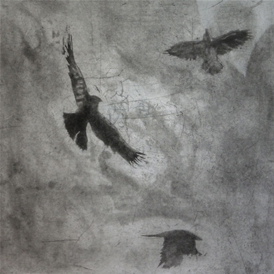 Larger Intaglio Crows A Murder of Crows no 1 (flying)