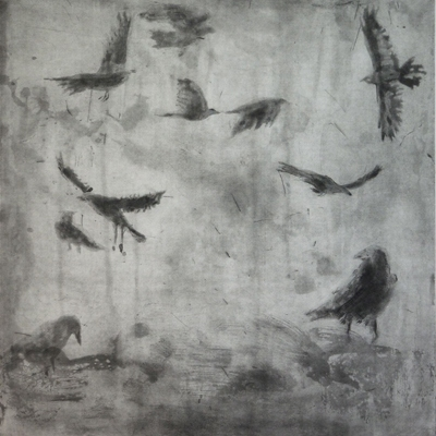 Larger Intaglio Crows A Murder of Crows no. 4 (flock)