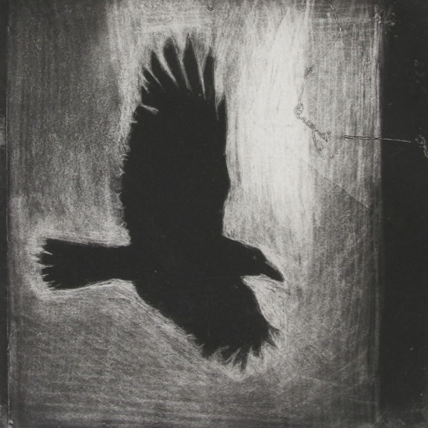 6x6 Intaglio Crows A Murder of Crows no. 11 (flying)