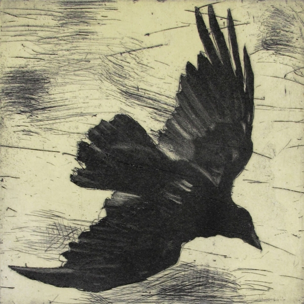 6x6 Intaglio Crows A Murder of Crows no.25 (underside)