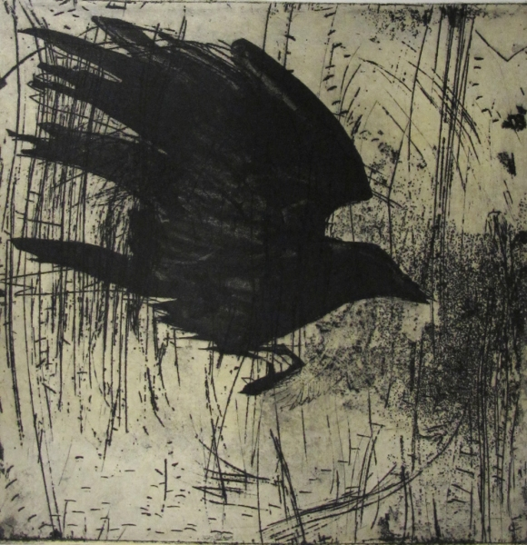 6x6 Intaglio Crows A Murder of Crows no. 24 (landing/grass)