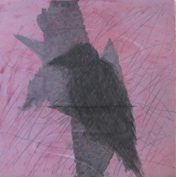 Monotype Crows A Murder of Crows no.28 (perched/pink)