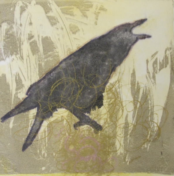 Monotype Crows A Murder of Crows no 28 (talking gold)