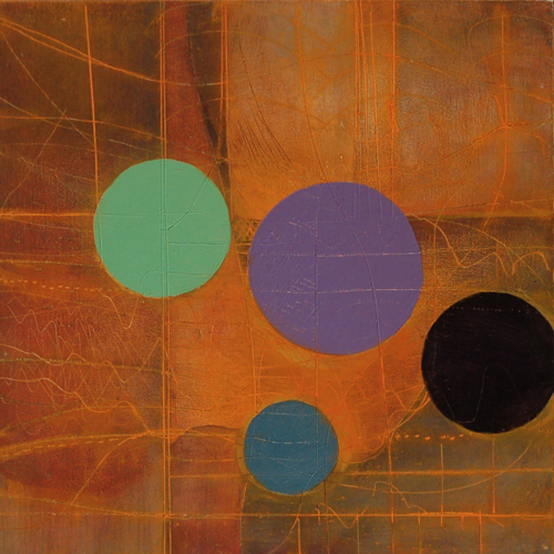 Painting  Ellipse Four Dot Orange