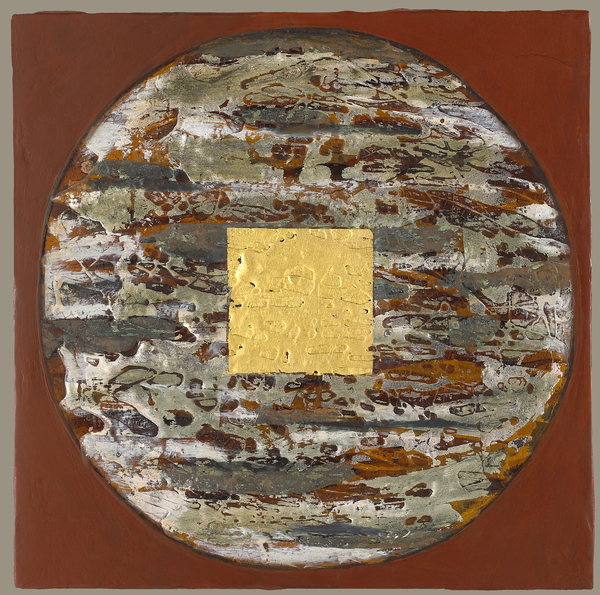 Painting acrylic, oil, gold and silver leaf  on panel