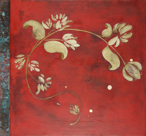 Painting acrylic, oil, gold leaf on panel with copper