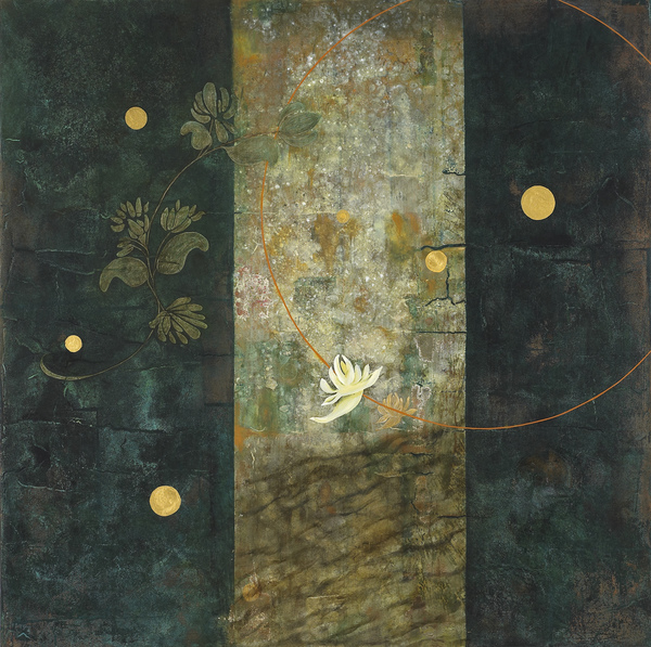 Painting acrylic, oil, gold leaf on panel