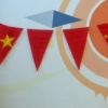 2009 Mixed media (acrylic paint, cut-up Chinese flags)