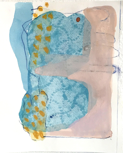 "Marcy Rosenblat  Work On Paper watercolor and gouache on paper 6""x8"""