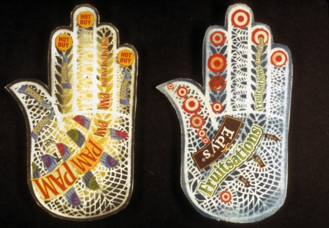 MARGARET MURPHY Henna Hands, Tattoos and Collages acrylic paint on paper with collage mounted on foam core