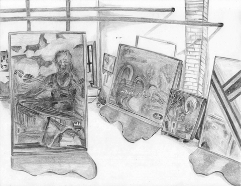 MARIA CALANDRA Pencil in the Studio pencil on paper