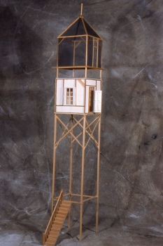 Maria Levitsky  Small Hand-built Structures wood, screen mesh, matt board, electrical details.