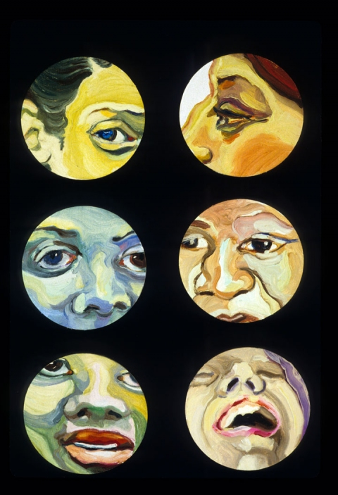Maria Spector FACE PAINTINGS/INSTALLATION Oil on Bar Coaster