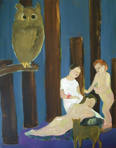 Figurative Collages Girls and Owl in the Woods