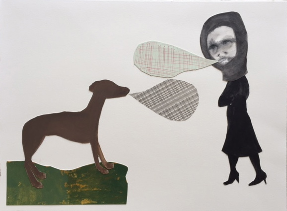 Figurative Collages Girl and Dog