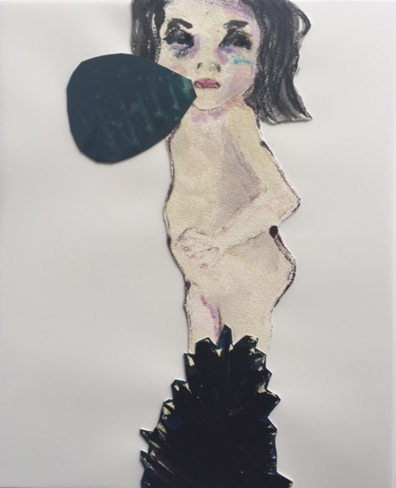Figurative Collages Girl behind Bush