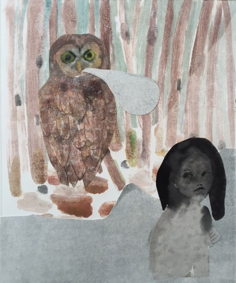 Figurative Collages Girl and Owl